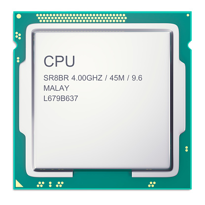 Central Processor Unit Cpu Top View Isolated On Whitebackground 3d Stock Photo - Download Image Now