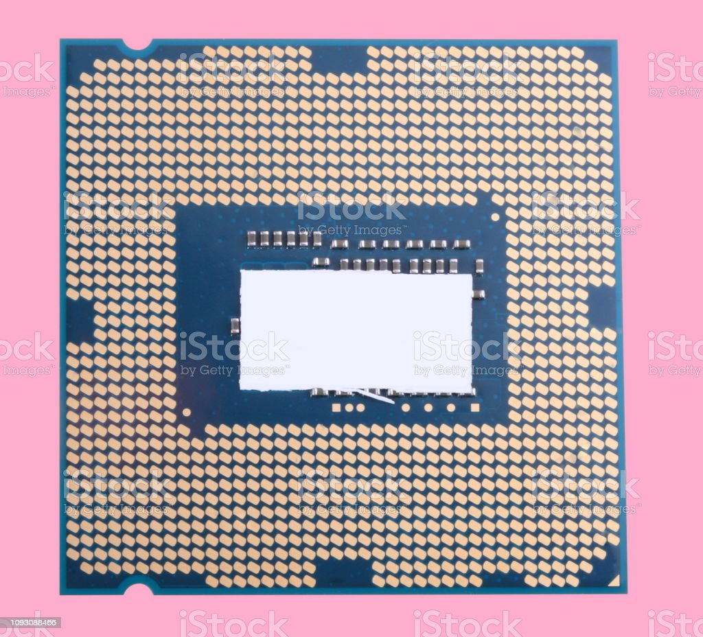 central Processor unit isolated on pink background at dry sunny day stock photo