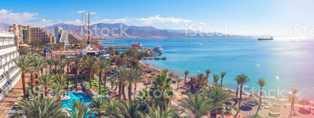 Central public beach and marina in Eilat stock photo