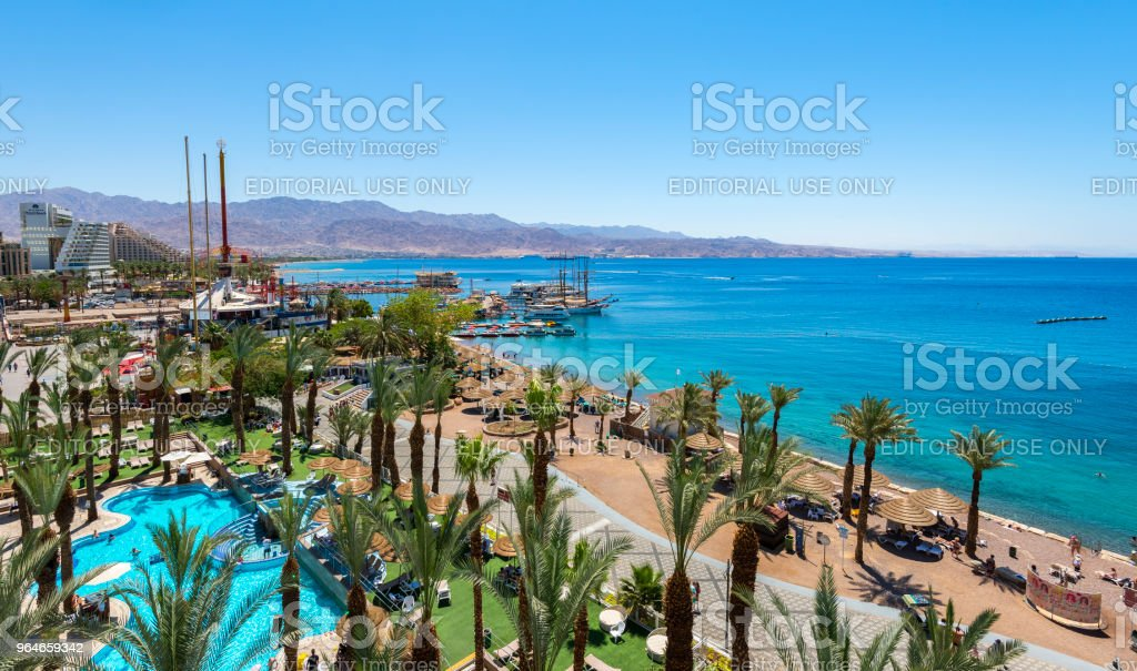 Central public beach, marina and promenade in Eilat, Israel royalty-free stock photo