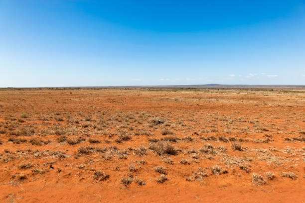Central Queensland Landscape - Queensland Australia Flat orange drought effected land in central Queensland south of Charters Towers. Central Queensland is a remote place and subject to many droughts. outback stock pictures, royalty-free photos & images