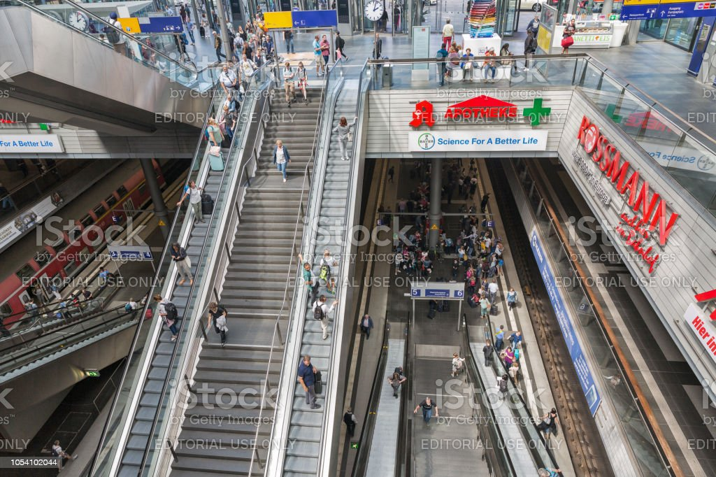 Central Railway Station or Hauptbahnhof interior in Berlin, Germany. stock photo