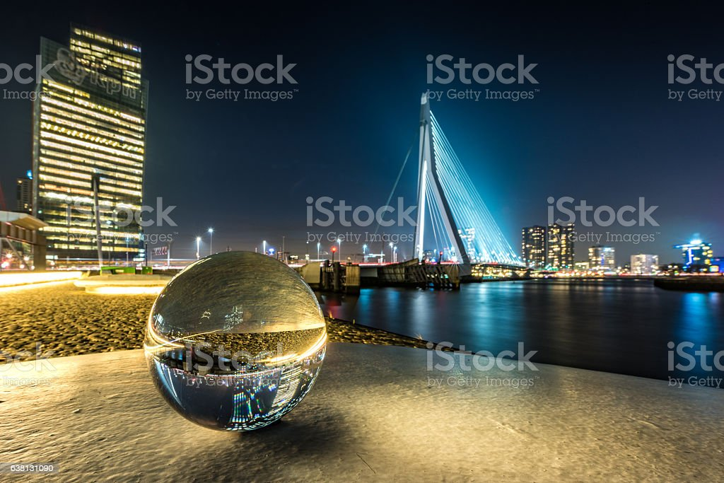 Central Rotterdam and a crystal ball at night stock photo