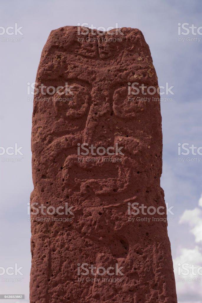 Central Sculpture at Semi-subterranean Temple in Tiwanaku, Bolivia. Declared UNESCO World Heritage Site stock photo