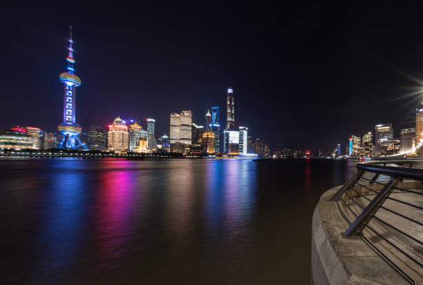 Central Shanghai Skyline at night from The Bund stock photo
