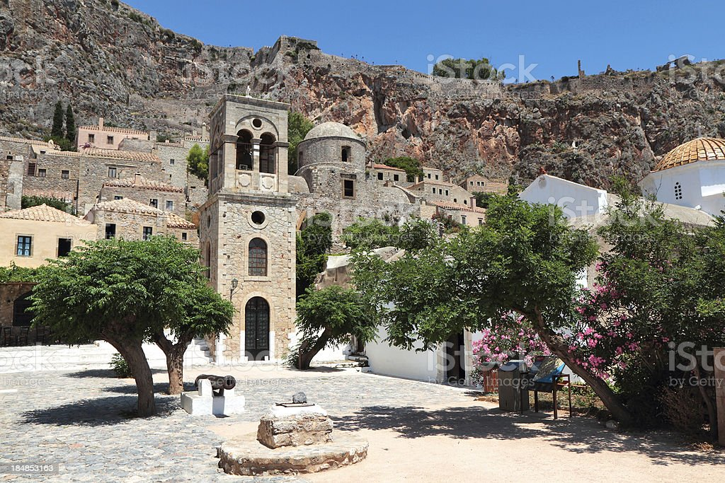 Central Square and Cathedral, Monemvasia, Laconia Region, Peloponnese, Greece stock photo