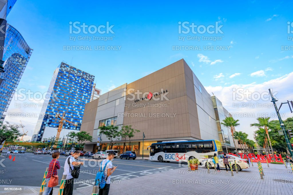 Central Square facade at Bonifacio Global City on Sep 1, 2017 in Taguig, Manila, Philippines stock photo