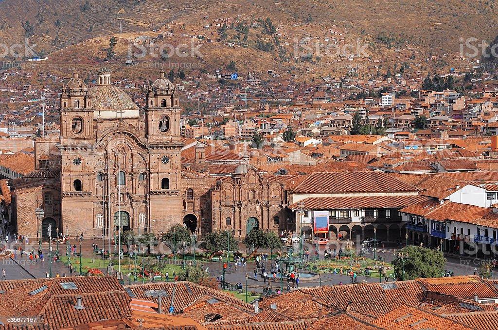 Central square In Cuzco, Plaza de Armas. stock photo