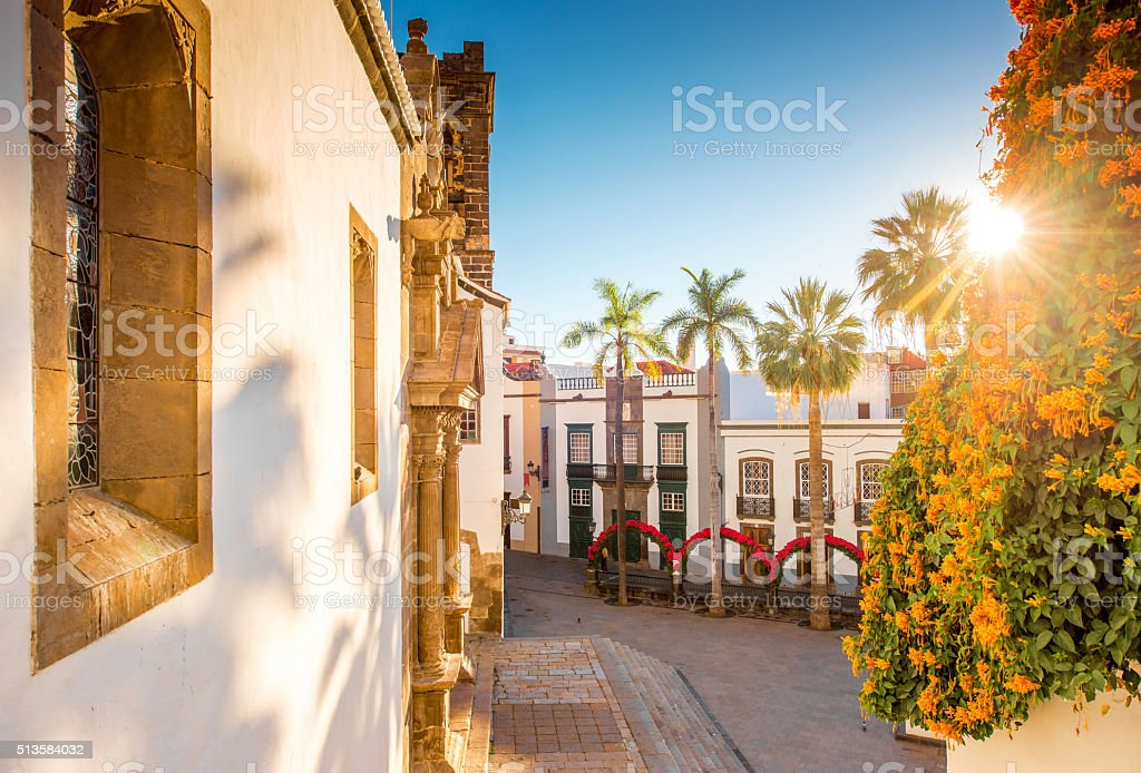 Central square in old town Santa Cruz de la Palma stock photo