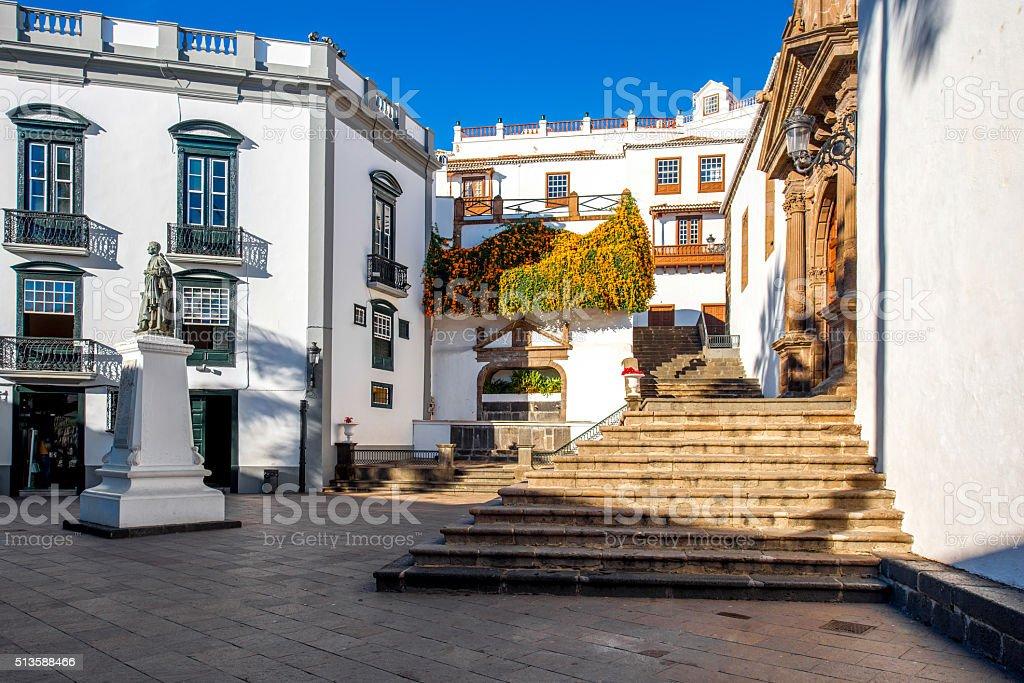 Central square in old town Santa Cruz de la Palma stock photo