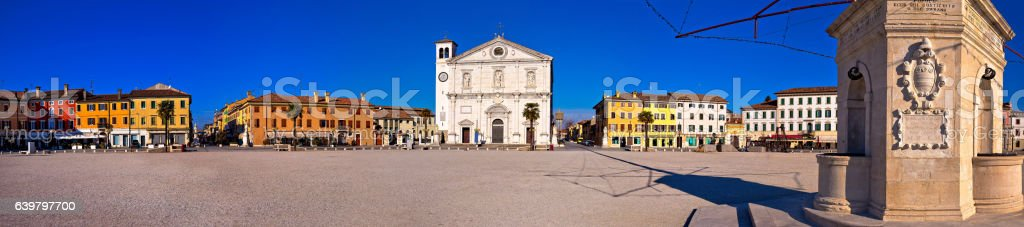 Central square in Palmanova panoramic view, stock photo