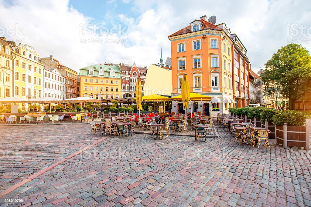 Central square in Riga stock photo
