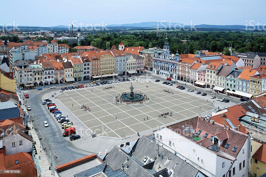 Central square of Ceske Budejovice, Czech Republic stock photo
