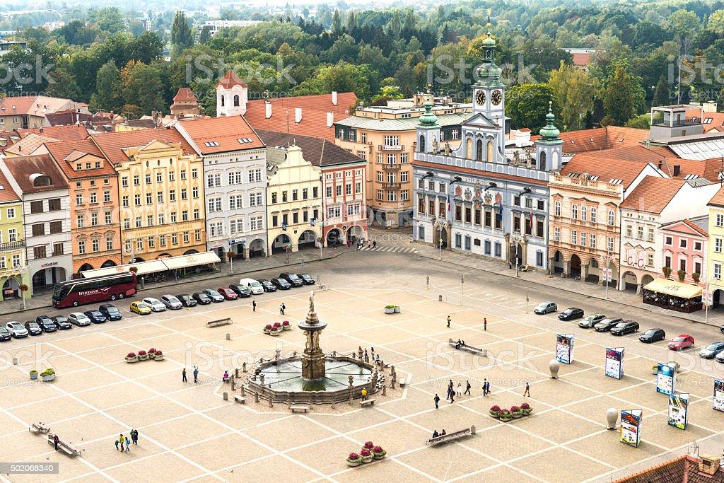 Central square of Ceske Budejovice stock photo