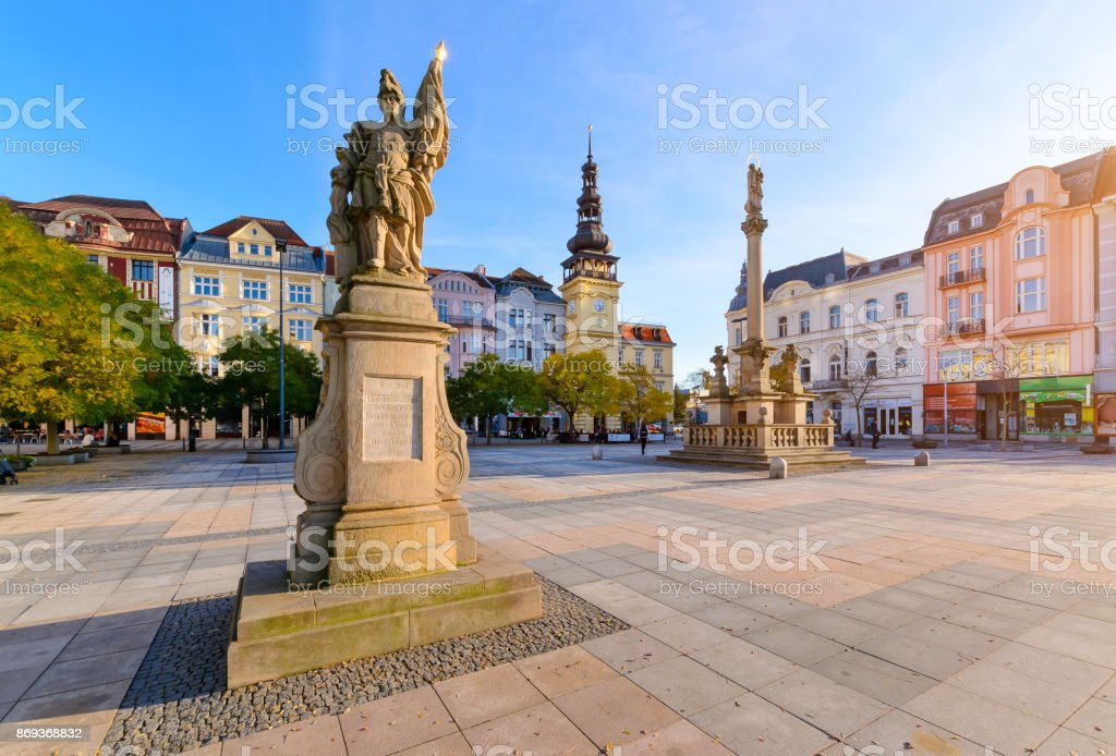 Central square of Ostrava Czech Republic stock photo