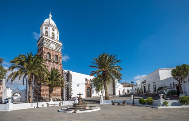 Central square of Teguise town, Lanzarote, Canary Islands, Spain stock photo