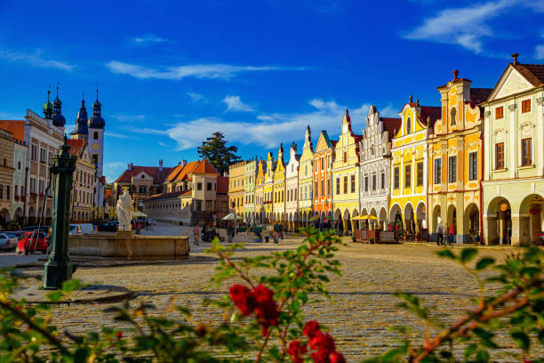 Central square of Telc stock photo