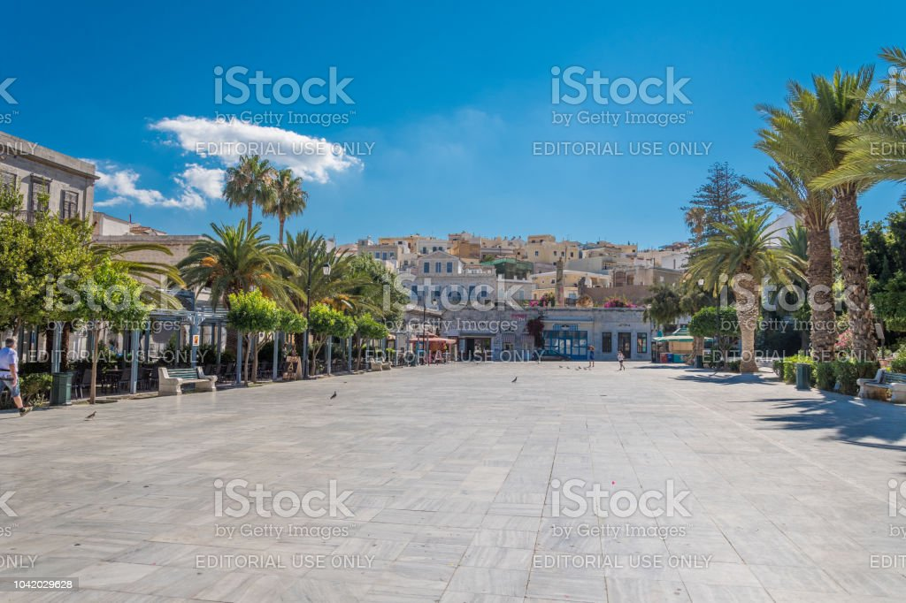 Central square of Syros cycladic island in Greece