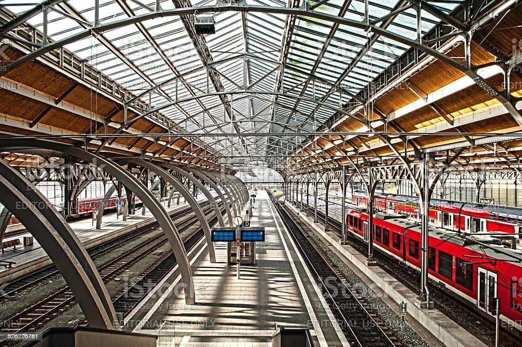 Central station hall of Lübeck,Germany stock photo