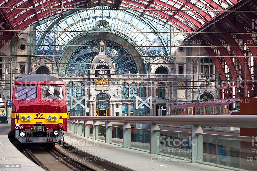 Central Station in Antwerp, Belgium stock photo