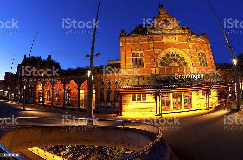 Central Station in Groningen at dusk stock photo