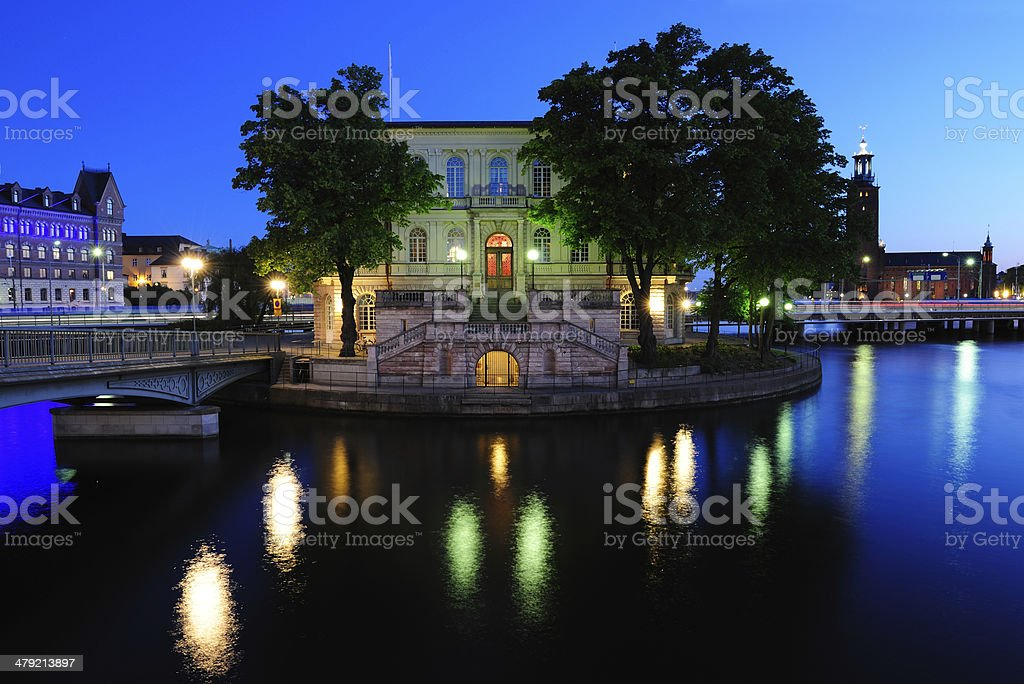 Central Stockholm by night royalty-free stock photo