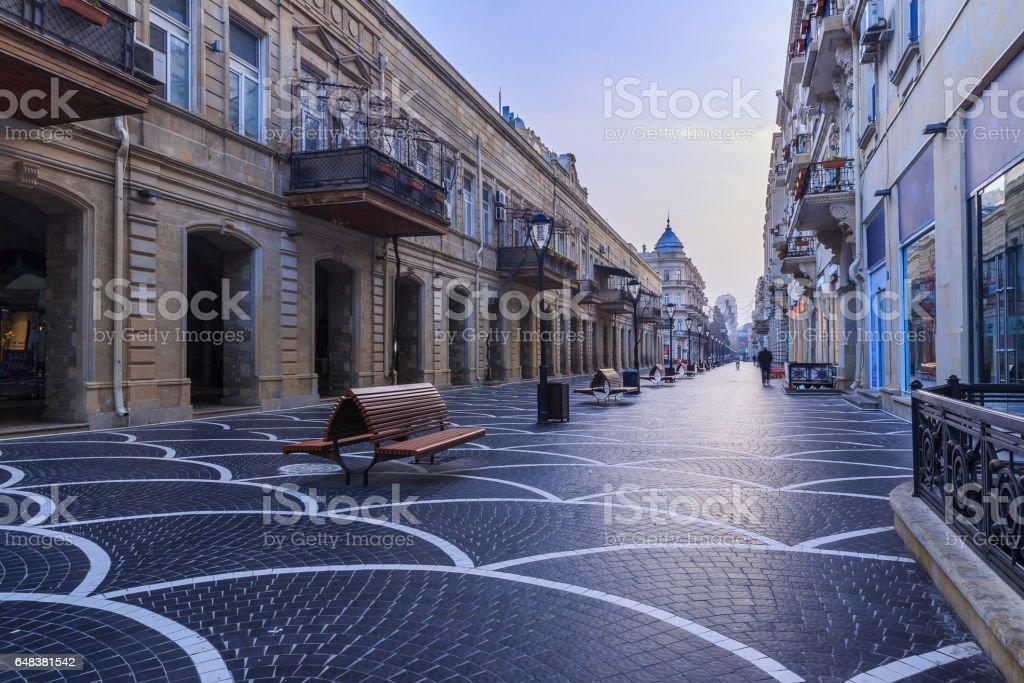 Central street in Baku early in the morning.Azerbaijan stock photo