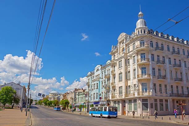 Central street of Vinnytsia stock photo