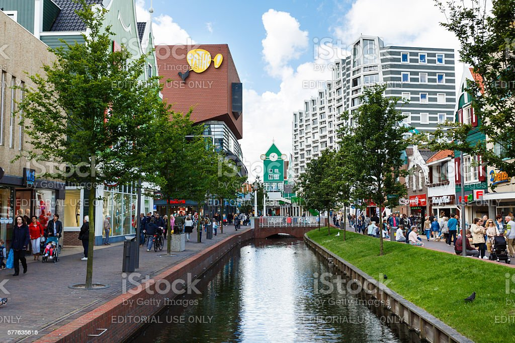 Central street of Zaandam, Netherlands stock photo
