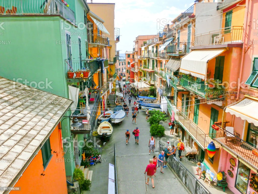 Riomaggiore, Italy - September 09, 2015: Central street stock photo
