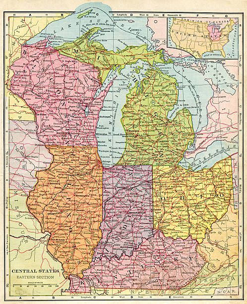 Michigan Map Pictures Images And Stock Photos IStock - 1896 map of us