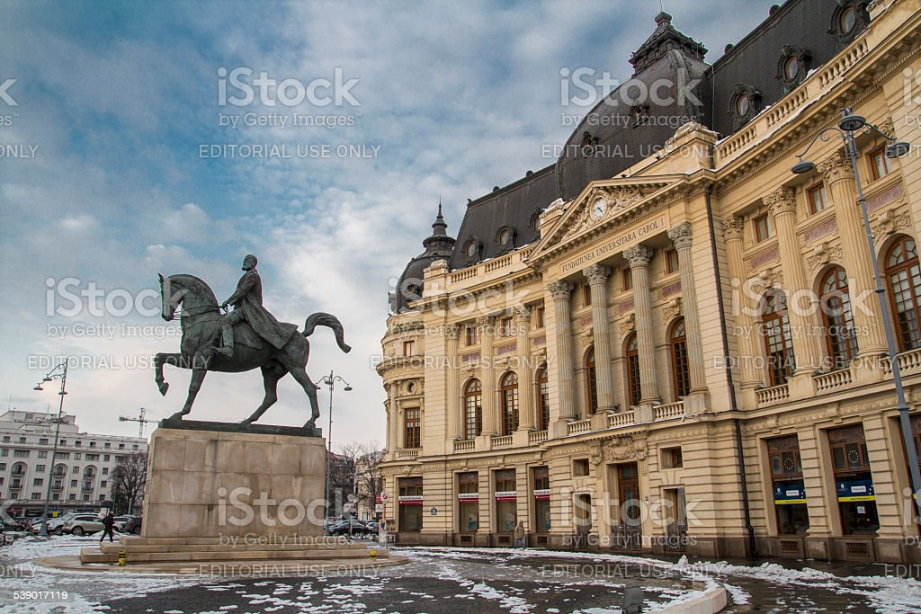 Central University Library on Bucharest, Romania in winter time stock photo