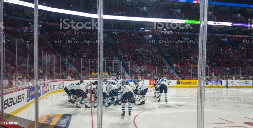 Centre Bell sports complex venue Montreal, Canada. Seats and ice hockey field. stock photo