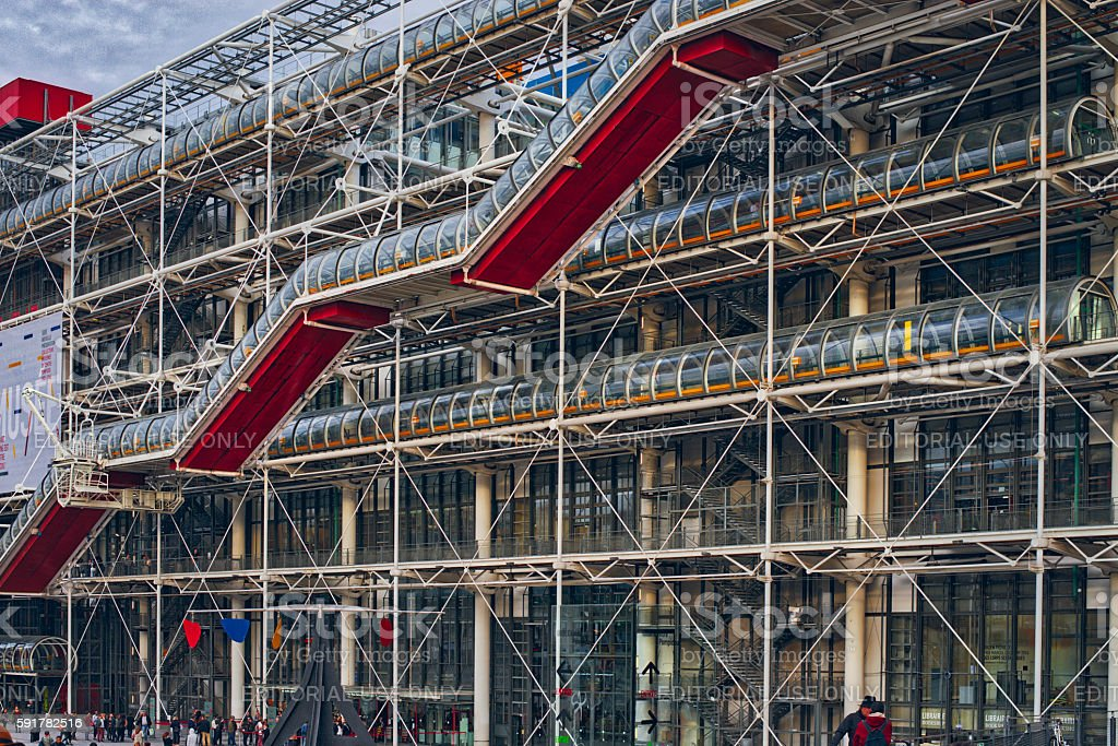 Centre Georges Pompidou was designed in style of high-tech architectur stock photo