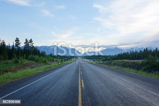 istock Centre of a long deserted Alaska Highway 852956466