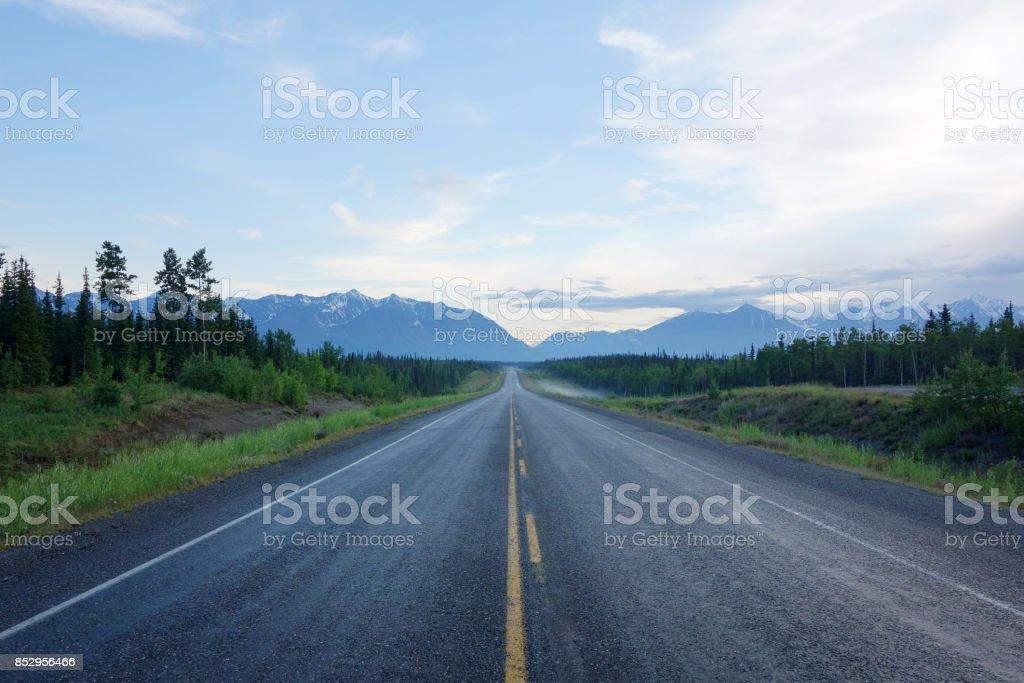 Centre of a long deserted Alaska Highway stock photo