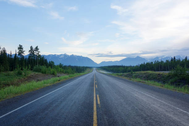 Centre of a long deserted Alaska Highway stock photo