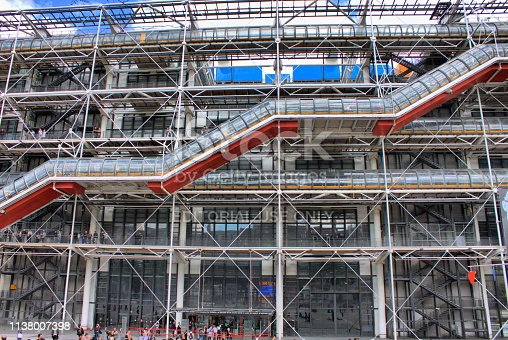 Paris, France - July 29, 2018: Facade of the Centre of Georges Pompidou in Paris, France. The Centre of Georges Pompidou is one of the most famous museums of the modern art in the world