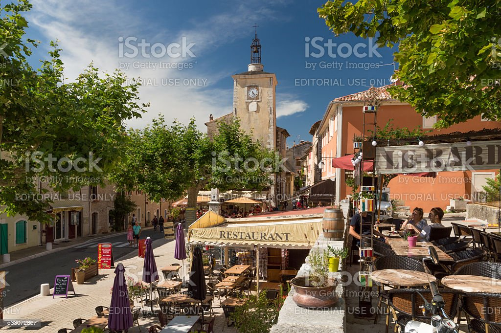 Centre of the village of Aiguines, Provence region, France stock photo