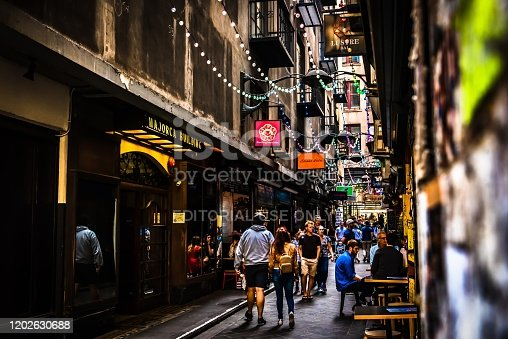 Melbourne, Victoria, Australia, December 21st 2019: Centre Place laneway in the city centre of Melbourne was multicoloured string lights installed for the Christmas season.