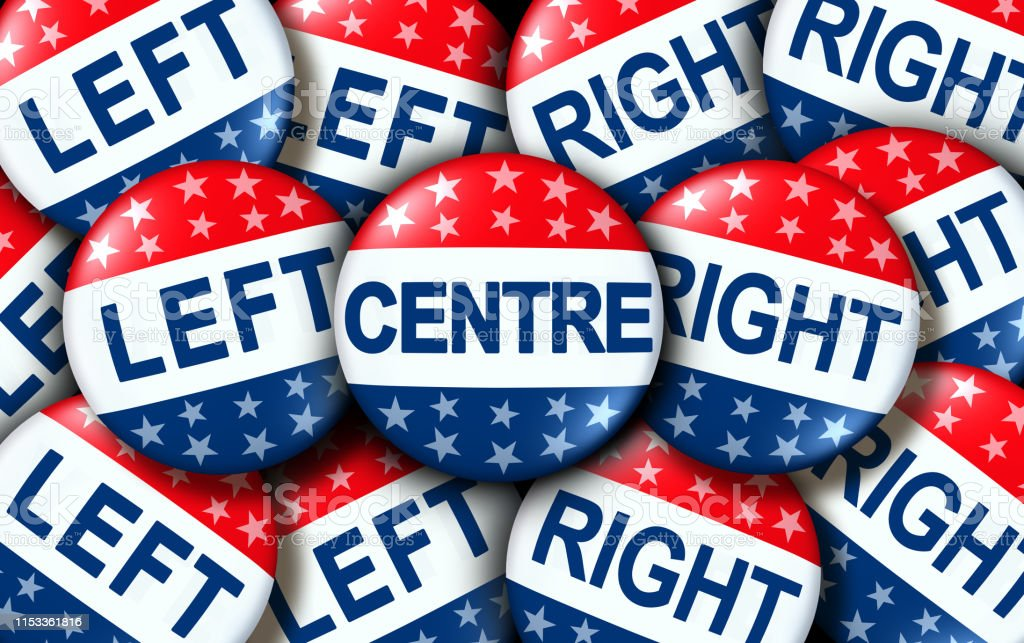 Centre politics as left and right wing vote badges as a united states...