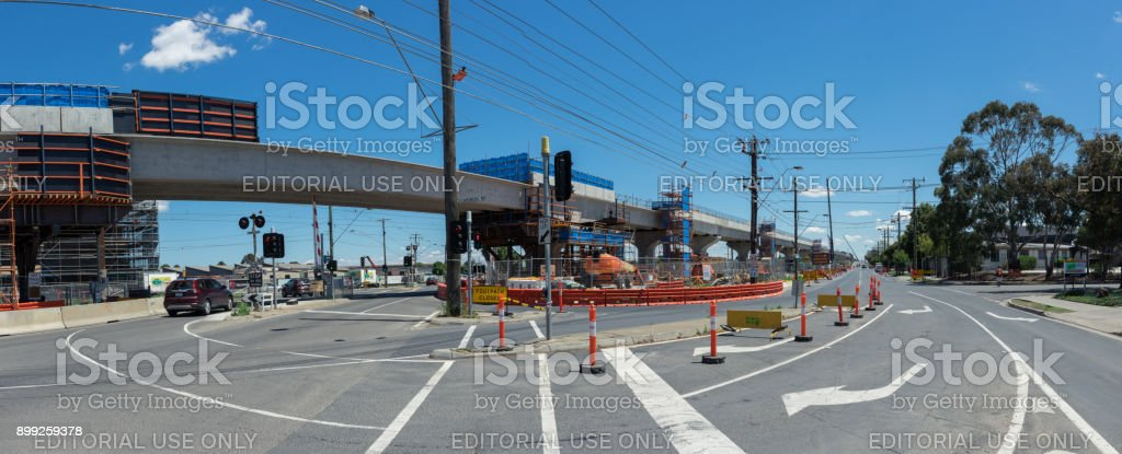 Centre Road level crossing being replaced by skyrail elevated train tracks in Clayton South, Melbourne stock photo