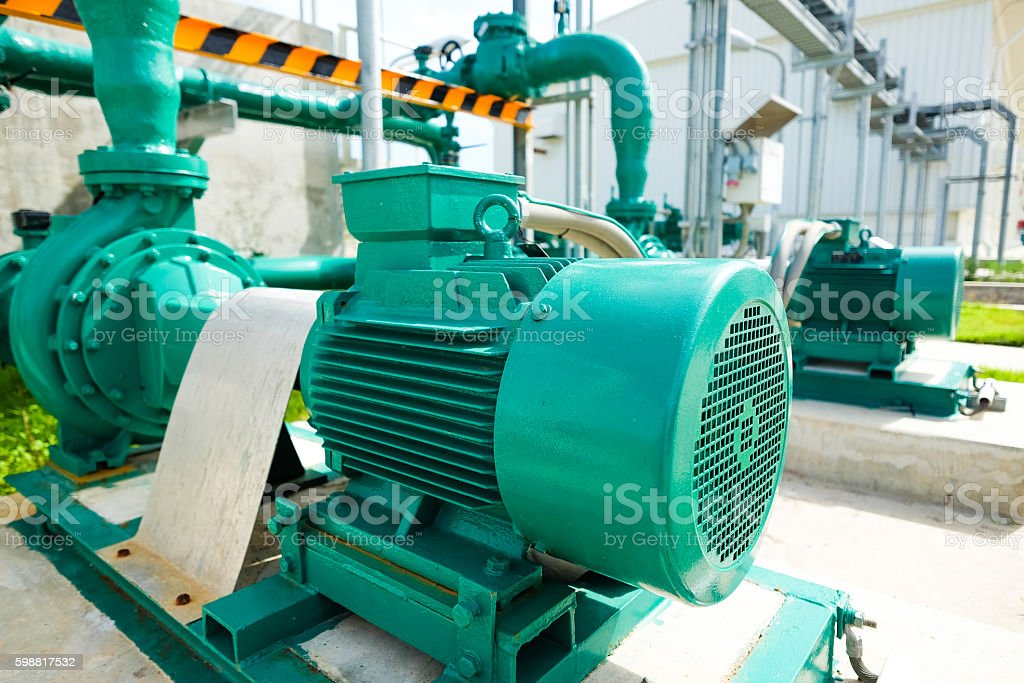 Centrifugal pump and motor in power plant stock photo