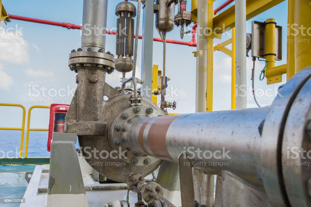 Centrifugal pump in oil and gas processing platform. stock photo