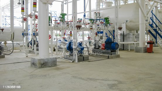 Centrifugal pumps that pump gasoline. Pump refinery. Oil refinery. Equipment for primary oil refining.