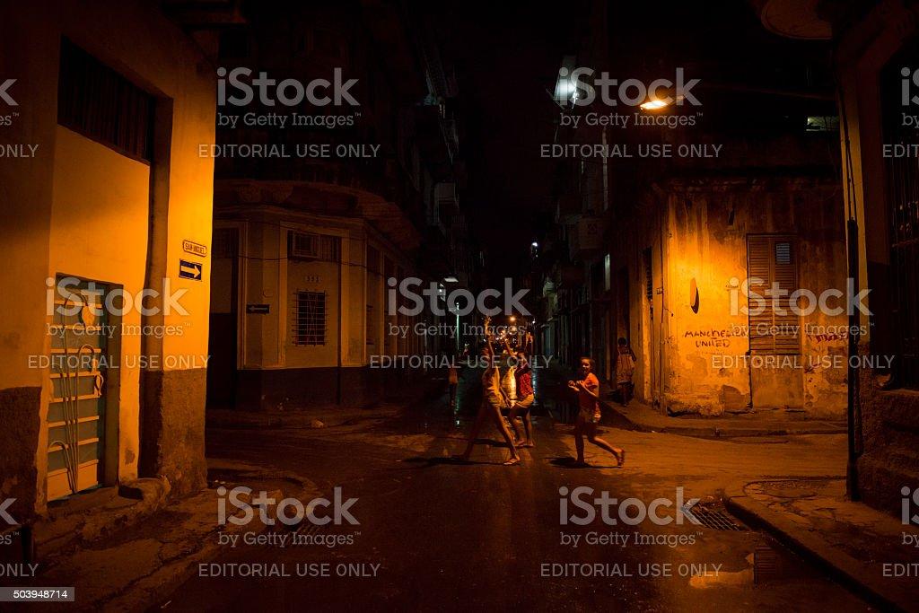 Centro Habana at night - Havana, Cuba stock photo