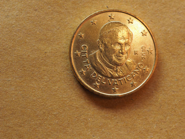 50 cents coin, european union - ratzinger foto e immagini stock