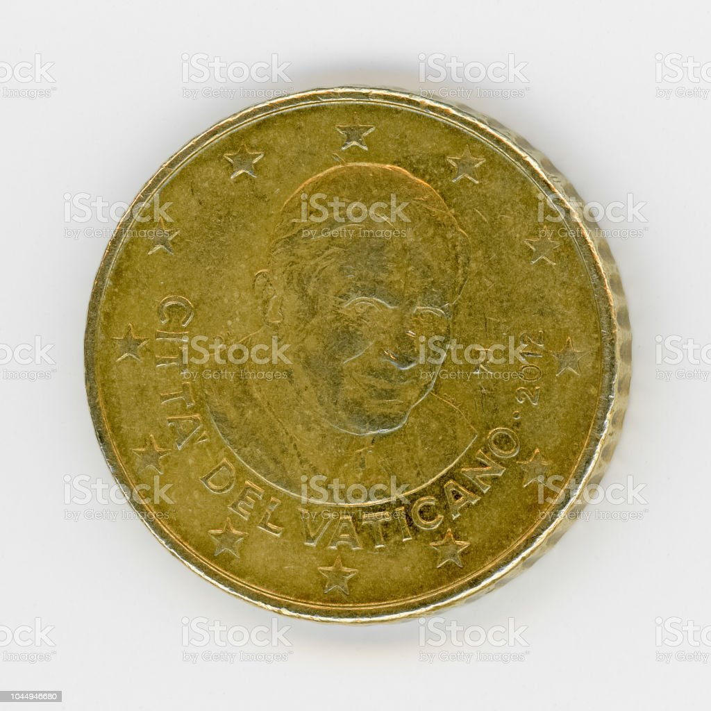 50 cents coin with Pope Benedict XVI, Vatican City, Europe - Foto stock royalty-free di Affari