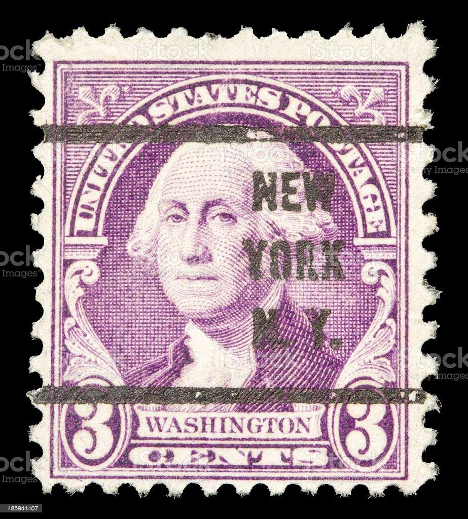 U.S. 3 Cents George Washington Postage Stamp - Isolated royalty-free stock photo