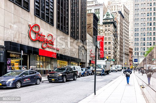 New York City, USA - October 30, 2017: Century 21 department store in NYC Manhattan lower financial district downtown, NYSE